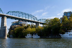 Trestle river bridge. Photo taken from the river in downtown Chattanooga, Tennessee Royalty Free Stock Photo