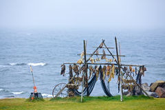 Trestles for hanging up fish to dry. Stock Photos
