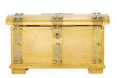 Tresure or savings Chest. An old savings chest photographed against white Royalty Free Stock Image
