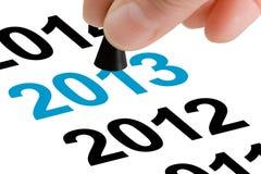 Treten Sie in das neue Jahr 2013 Stockfotografie