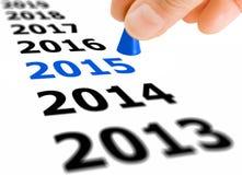 Treten Sie in das neue Jahr 2015 Stockbilder