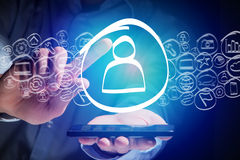 Treten Sie erlöschenden Ikone Smartphonemit der schnittstelle - Technologie conce in Verbindung Stockfoto