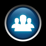Treten Sie mit Ikone auf einem Kreis in Verbindung, der auf einem schwarzen Hintergrund lokalisiert wird Lizenzfreie Stockfotos