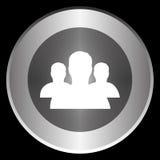 Treten Sie mit Ikone auf einem Kreis in Verbindung, der auf einem schwarzen Hintergrund lokalisiert wird Stockfotografie