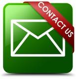 Treten Sie mit uns E-Mail-Ikonengrün-Quadratknopf in Verbindung Lizenzfreies Stockbild