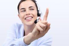 Treten Sie mit uns, Kundendienst-Betreiberfrau mit Kopfhörer in Verbindung Stockbilder