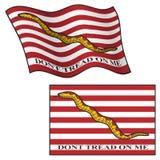 Treten Sie nicht auf mir Flagge und wellenartig bewegen und flach, Vektor-Grafik-Illustration stock abbildung