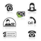 Treten Sie in Verbindung, nennen Sie mit Ikonen - rufen Sie Symbole mit Schatten an Lizenzfreies Stockbild