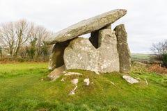 Trethevy Quoit megalityczny grobowiec w Cornwall zdjęcia royalty free