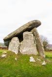 Trethevy Quoit megalityczny grobowiec w Cornwall zdjęcie royalty free