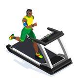 Tretmühlen-Sportunterricht-Ausarbeiten Turnhallen-Ausrüstungs-Tretmühlen-laufender Athleten-Runners Working Out-Sportunterricht f Stockfoto