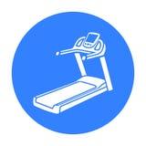 Tretmühlenikonenschwarzes Einzelne Sportikone von der großen Eignung, gesund, Trainingsschwarzes stock abbildung