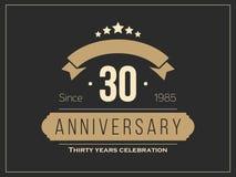 Trettio år årsdagberömlogotyp 30th årsdaglogo vektor illustrationer