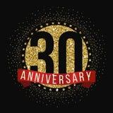 Trettio år årsdagberömlogotyp 30th årsdaglogo Fotografering för Bildbyråer