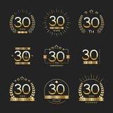 Trettio år årsdagberömlogotyp 30th årsdaglogosamling royaltyfri illustrationer