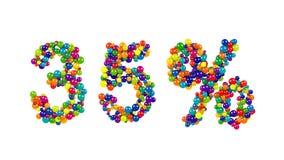 Trettiofem procent undertecknar in festliga färger Arkivbild