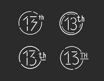 Trettonde logotypvarianter, tecken för tretton vektor, 13th symbolsuppsättning Royaltyfri Bild