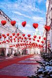 Tretyakov passage. Decorations for Valentine`s Day St. Valentine`s Day. Balloons in the form of hearts. stock photos