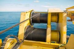 Treuil de grue, tambour de corde de fil d'acier photos libres de droits