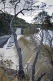 Trevallyn dam in flood Stock Image