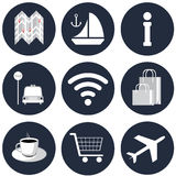 The trevel icons. On a blue background Royalty Free Stock Photos