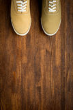 Trevelaing sneakers on wooden background Stock Photography