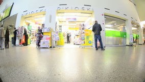 Travelers on railway station stock footage
