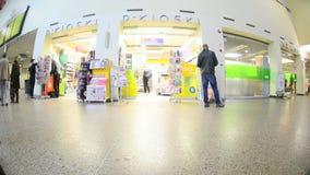 Travelers on railway station stock video footage