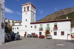 View of the church of Trevelez stock images