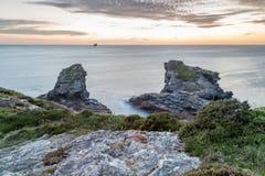Trevellas-porth Sonnenuntergang in Cornwall England Großbritannien Stockbilder