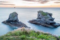 Trevellas-porth Sonnenuntergang in Cornwall England Großbritannien Lizenzfreie Stockfotos