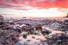 Trevellas-porth Sonnenuntergang, der in Richtung trevaunance Buchten in Cornwall England Großbritannien blickt Lizenzfreies Stockbild