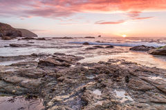 Trevellas porth sunset looking towards trevaunance coves in cornwall england uk Stock Images