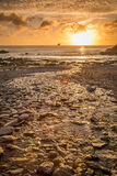 Trevellas porth sunset looking towards trevaunance coves in cornwall england uk Stock Image