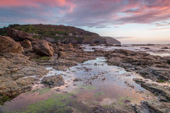 Trevellas porth sunset looking towards trevaunance coves in cornwall england uk Stock Photos