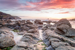 Trevellas porth sunset looking towards trevaunance coves in cornwall england uk Royalty Free Stock Photography