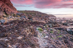 Trevellas porth sunset looking towards trevaunance coves in cornwall england uk Stock Photo