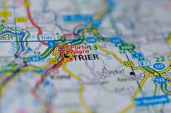 Treves on map. Close up shot of Trier on a map Royalty Free Stock Photography