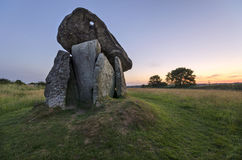 Trevethy Quoit. A large Dolmen style Neolithic tomb or burial chamber on the edge of Bodmin Moor in Cornwall also known as the the Giants House and King Arthurs Royalty Free Stock Photography