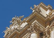 Trevi喷泉的上部细节在罗马 免版税库存图片