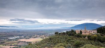 Trevi:对南翁布里亚谷,意大利的全景观点 免版税库存照片