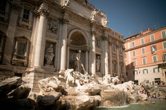 The Trevi Fountain. Is the largest baroque fountain in Rome, Italy. It is a popular tourist destination for millions of people each year Royalty Free Stock Photo