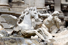 Trevi Fountain. A Triton and Sea Horse in the Trevi Fountain in Rome Royalty Free Stock Photos