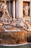 Trevi Fountain Close Up Rome Italy. Trevi Fountain , Fontana de Trevi, Close Up, Neptune Statues, Rome Italy Finished by architect Salvi in 1735 who continued Stock Photos