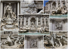 Trevi Fountain, collage. The Trevi Fountain is a fountain in the Trevi rione in Rome, Italy. One of the most visited and touristical places of the city Stock Image