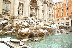 The Trevi Fountain covered by snow Royalty Free Stock Photos