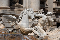 Trevi Fountain detail. Triton and hippocampus guide oceanus shell chariot Royalty Free Stock Images