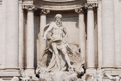 Trevi Fountain - Details of Oceano. Detail of the famous Trevi Fountain: this character of the monument is Oceano stock photo