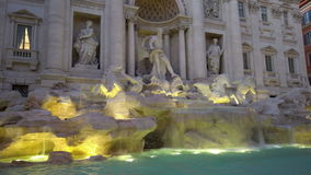 Trevi Fountain At Dusk. Sightseeing view, Rome, Italy stock video footage