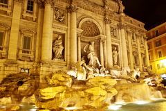 Trevi Fountain - famous landmark in Rome. Fountain di Trevi - most famous Rome's fountains in the world. Italy Stock Photos